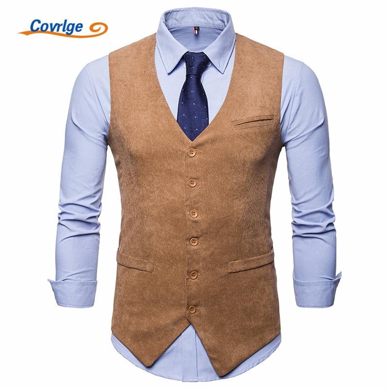 Covrlge Men Corduroy Suit Vest Mens Weeding Dress Vests Waistcoat Man Gilet Business Wedding Tuxedo Colete Masculino MWX035