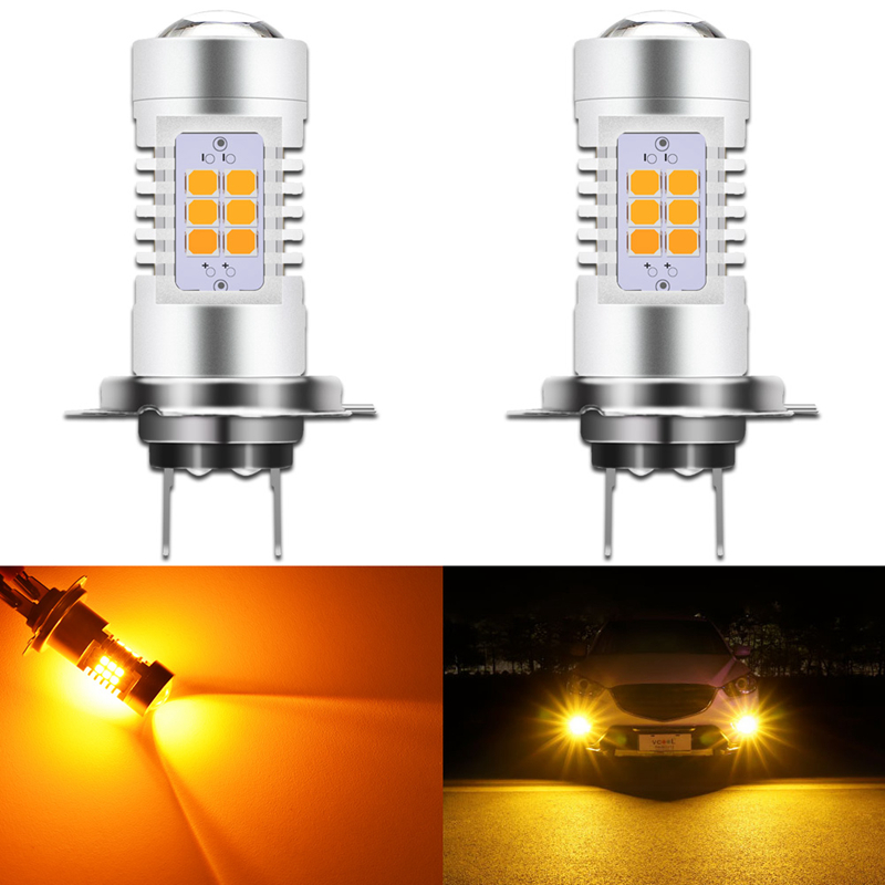 10pcs H8 H11 Led Bulb Hb4 Led Hb3 9006 9005 Fog Lights 1000lm 6000k 12v Drl Daytime Running Light Dual Color Amber White Yellow Professional Design Car Lights