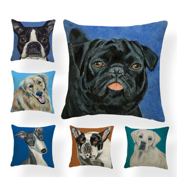 Greyhound Cushion Pug Animal Pillow French Bulldog Home Outdoor Decoration Ebi Bear Throw Pillow Cover Pomeranian 43*43 Linen image