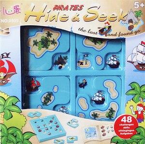 Image 2 - 海賊隠す & シーク IQ ボードゲーム 48 チャレンジとソリューションブックスマート Iq のおもちゃの子供のパーティーゲーム家族インタラクティブ玩具