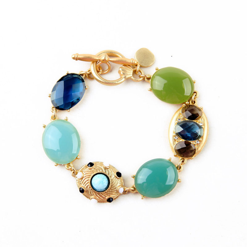 famous brand zinc alloy green female Korean gold Bracelet woman Jewelry Semi-precious stones Bohemian retro dinner party style