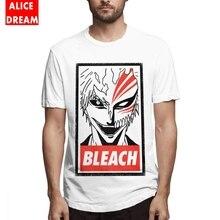 Mens O-neck T shirt Japan anime Bleach Ichigo Tee Shirt Retro Homme 100% Cotton BONADIAO