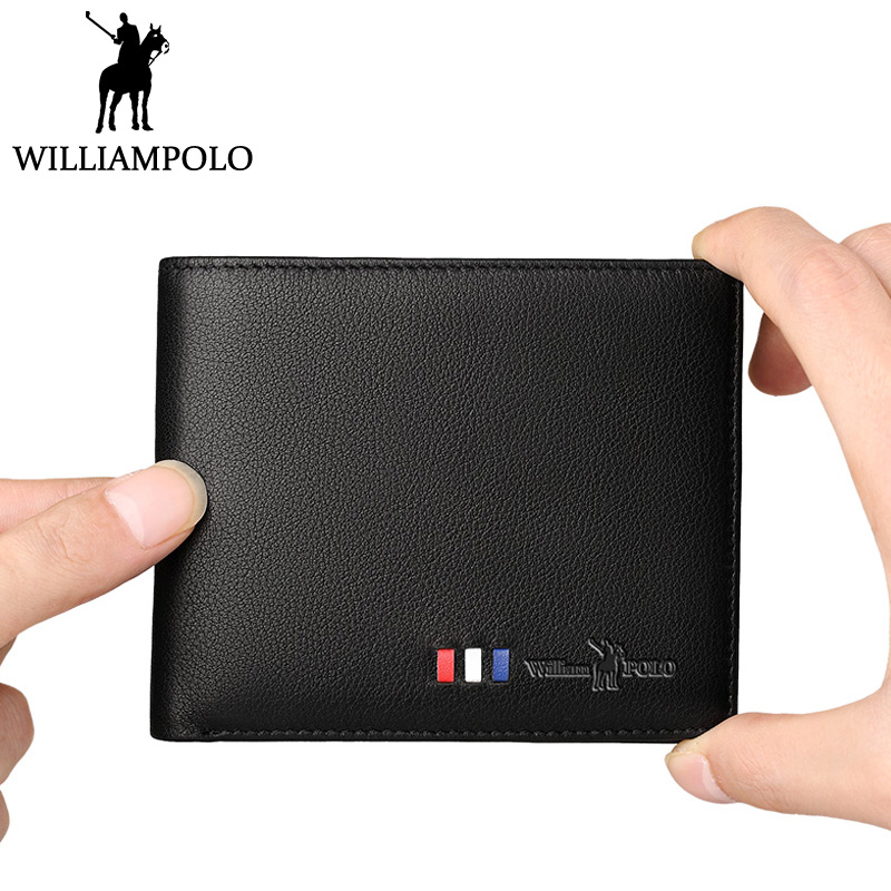 WILLIAMPOLO 2018 New Men Wallet Genuine Leather Slim Purse Fashion Small Short Pouch Bifold For Male Money Bag Case Blue Brown men s new pattern slim wallet male portfolios thin money pouch small business card holder soft leather bifold purse for men