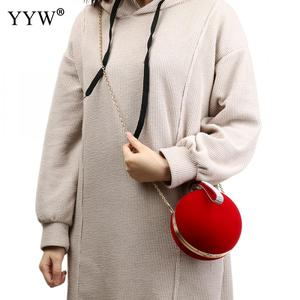 Image 4 - YYW Unique Velvet Iron On Lady Handbag Red Shoulder Clutch Bag Spherical Evening Bags Small Purse Chain Shoulder Bolsos Mujer