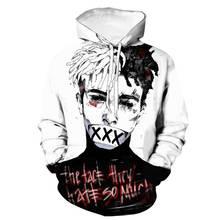 Горячая поиск Рэппер XXXTentacion для мужчин/для женщин уличная хип хоп стиль свитер с капюшоном цифровой печати памятные толстовки