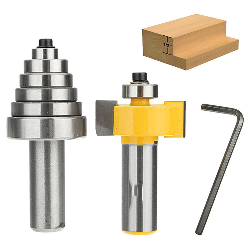 New 1/2'' Shank Carbide Rabbet Router Bit Milling Tool with 6 Bearings Set For Woodworking Tool 1 2 5 8 round nose bit for wood slotting milling cutters woodworking router bits