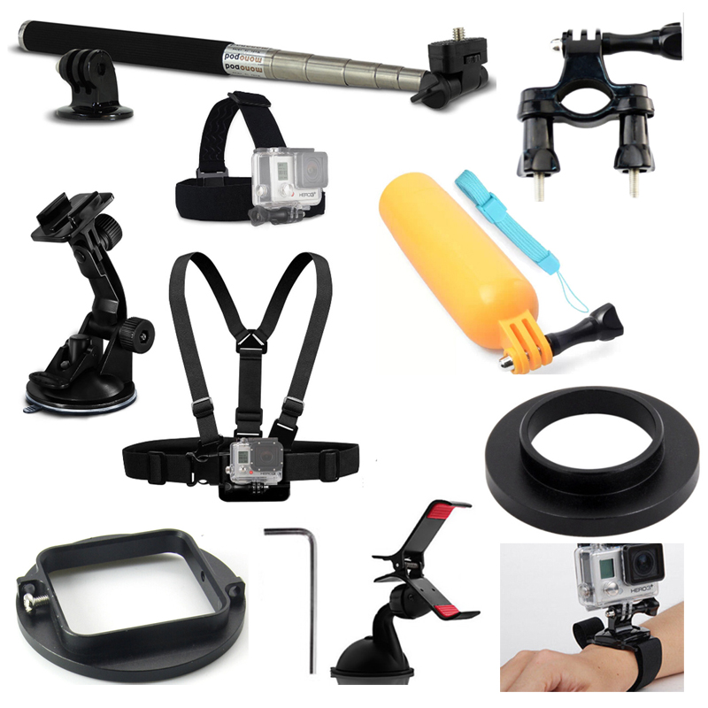 KnightX Accessories Outdoor Sports Monopod Stick Hand Strap Adjustable Chest Harness Strap For GoPro Hero 3+4 5 6 Cameras Go Pro