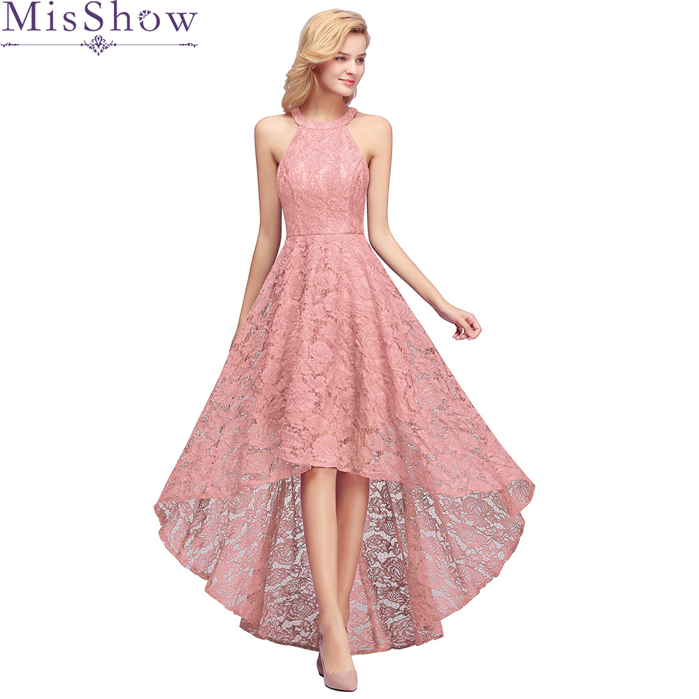 Pink Lace Sleeveless Cocktail Dresses Knee Length Sexy Formal Party Gown A Line Halter High Low Robe Coctail 2020