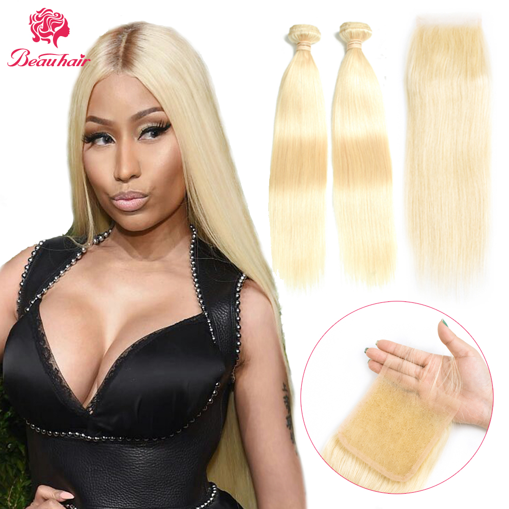 Brazilian Straight Human Hair Bundles With Closure 4x4 Lace Closure Remy Hair Weaving Extensaations 613 Blonde For Black Women