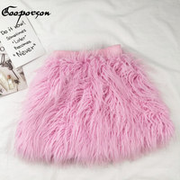 GOOPORSON Girl S Skirt New Fashion Kids Girl Faux Fur Pink Skirt Lovely Baby Girl Skirt