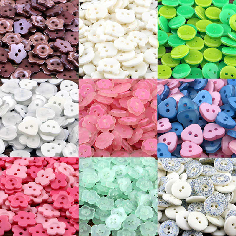 50pcs resin button clip round mix two holes suitable for clothing diy buttons bag accessories