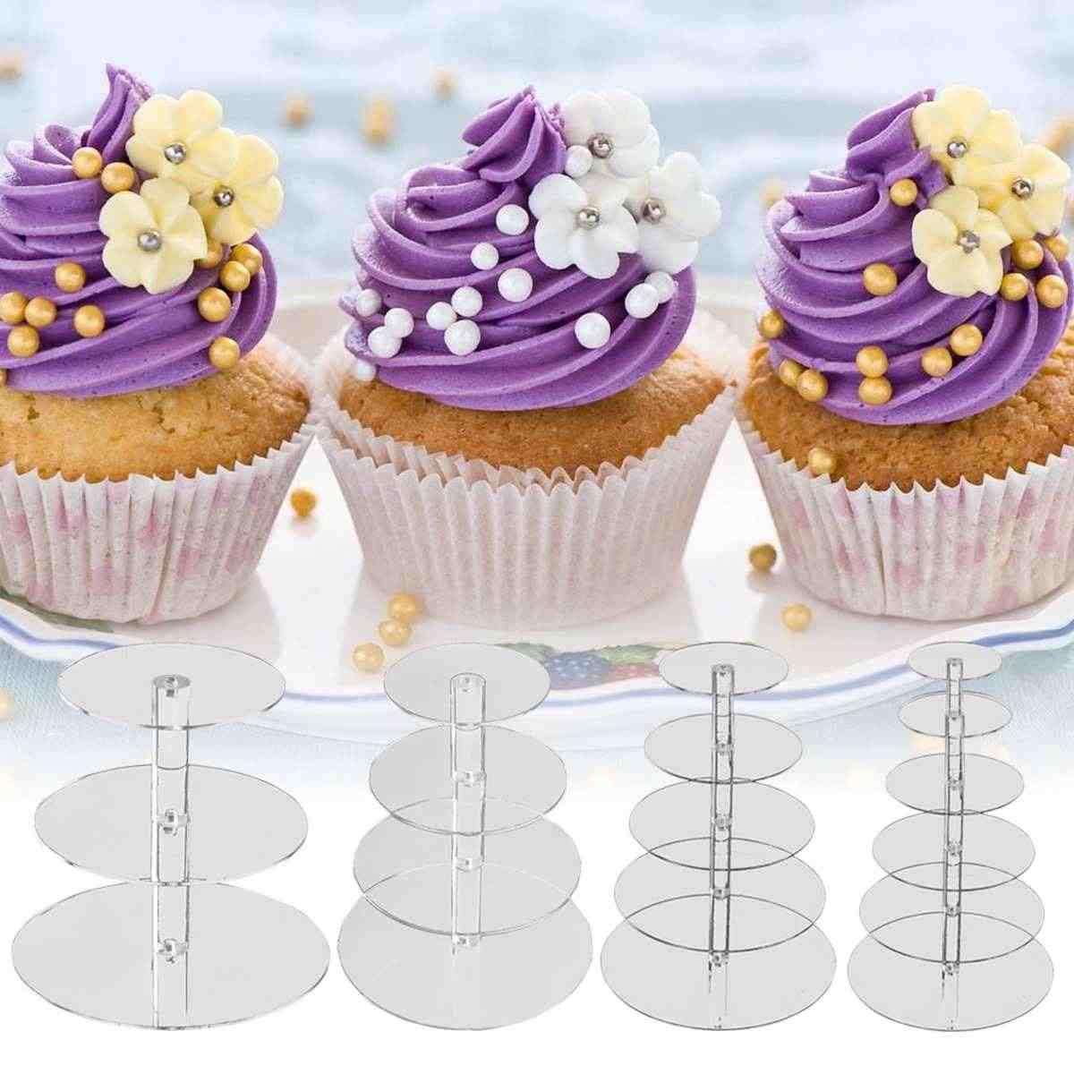 DHOUTDOORS Soporte Cupcake Acr/ílico Transparente para Cupcakes 4 Niveles para Bodas y Fiestas para Tartas Postres Muffins Cupcake Stand para Fiestas Bodas Cumplea/ños