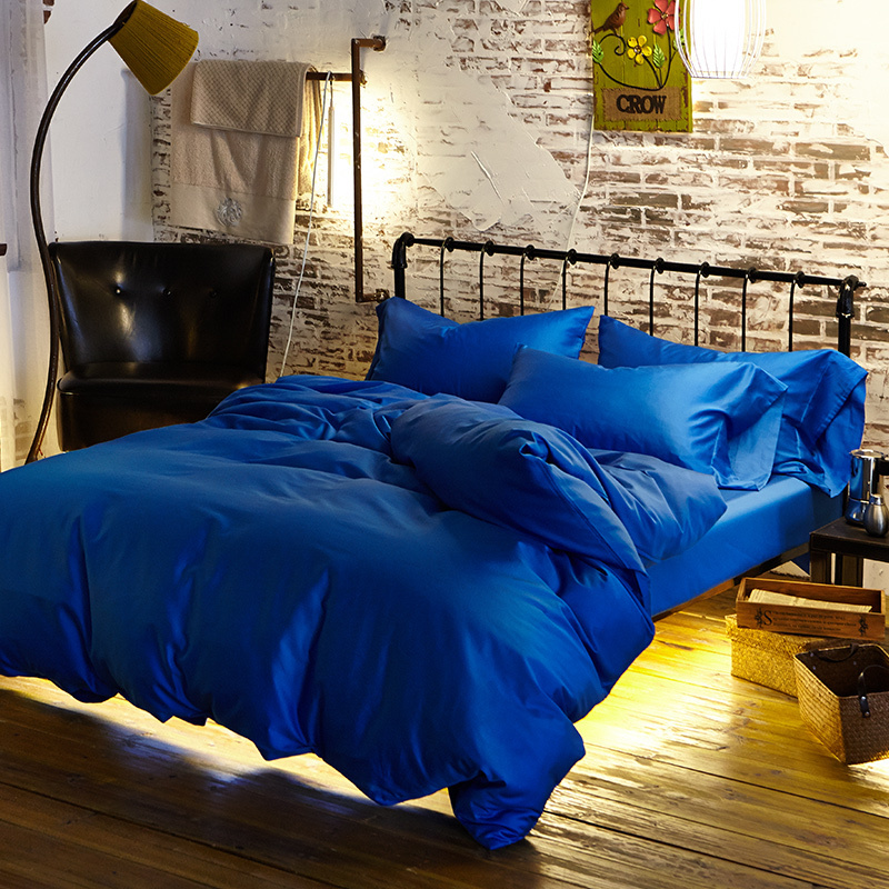 Luxury Peacock Blue Egyptian Cotton Bedding Sets Doona Cover Bed Sheets King Size Queen Bedsheet Bedspread Linen Solid Color In From Home
