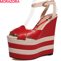 MORAZORA Women Summer 16cm Platform Shoes Sandals Fashion Spell Color Top Quality Genuine Leather Shoes Big