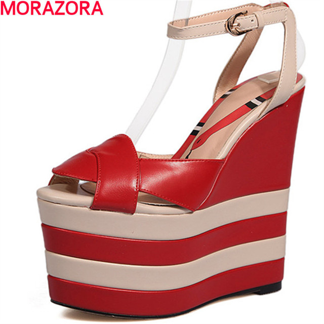 96bf4ceca MORAZORA women summer 16cm platform shoes sandals fashion Spell color top  quality genuine leather shoes big size 34-40 buckle