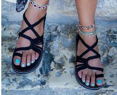 2018 Frauen Strand Bohemian Sommer Stil Tanga Sandalen Damen Gladiator Flache Mode Neue Rom Seil Flip-flops Schuhe Plus Größe
