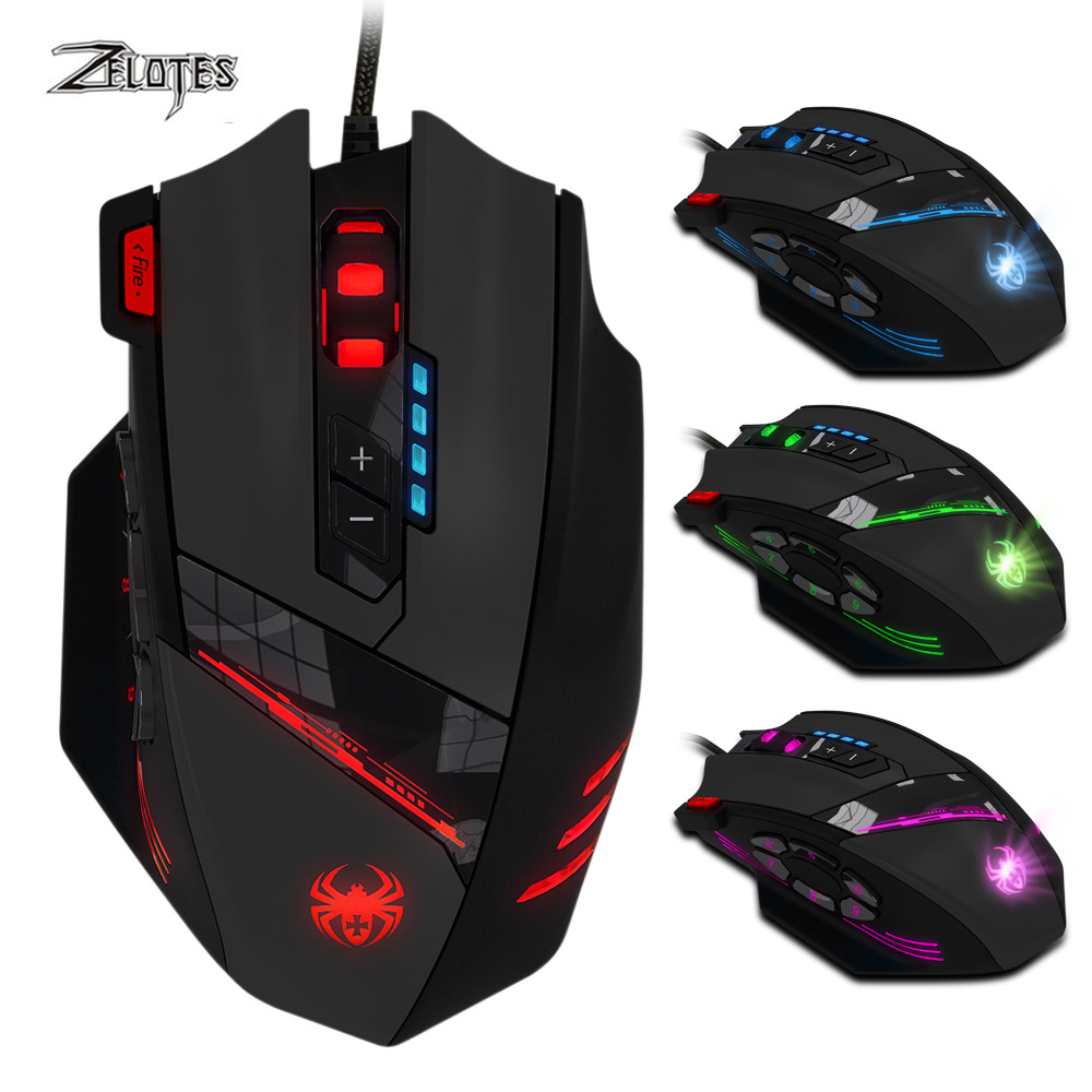 ZELOTES C-12 Wired USB 4000 DPI A Optical Gaming Mouse 12 Programmable Buttons Computer Game Mice 4 Adjustable DPI 7 LED Lights