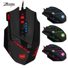 лучшая цена ZELOTES C-12 Wired USB 4000 DPI A Optical Gaming Mouse 12 Programmable Buttons Computer Game Mice 4 Adjustable DPI 7 LED Lights