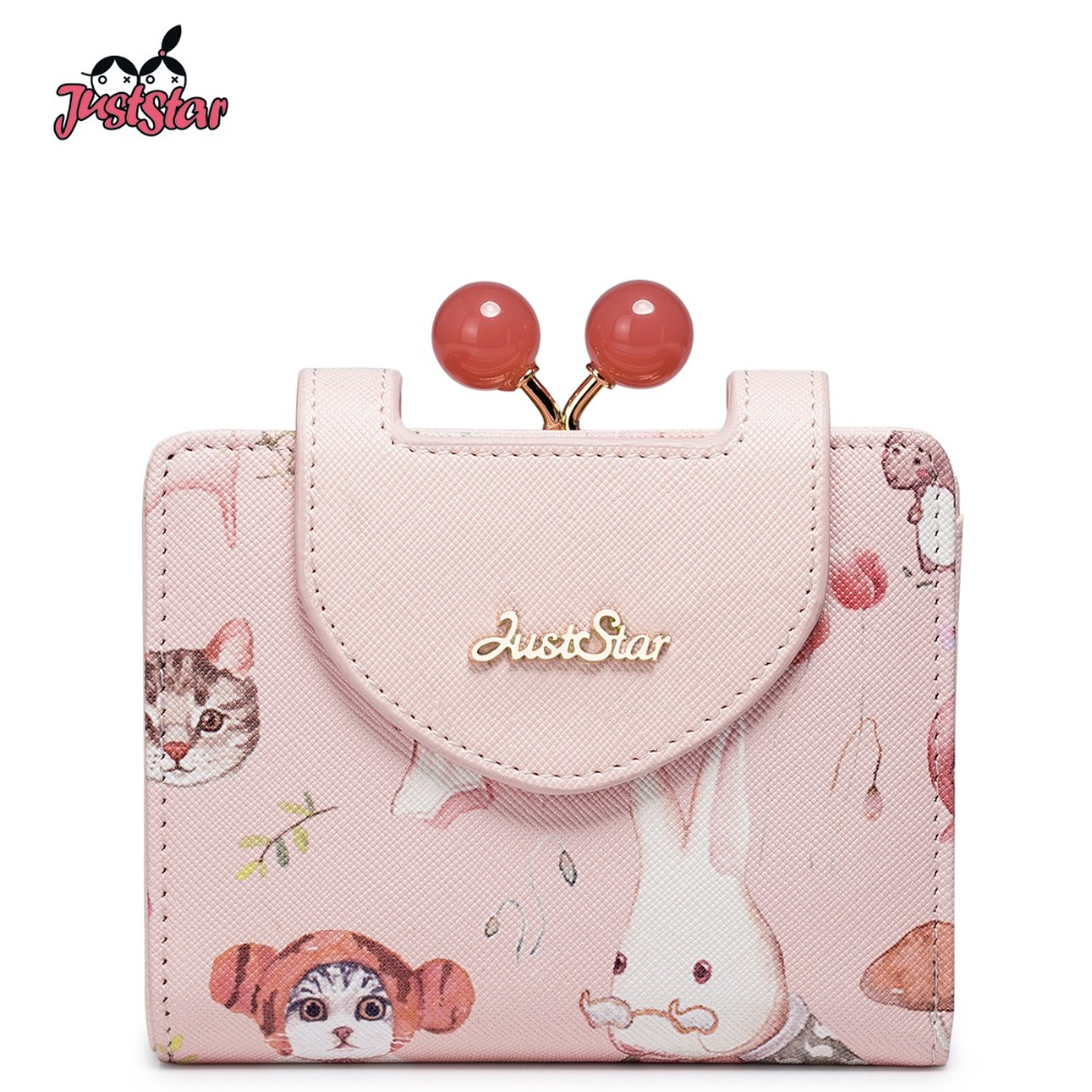 BARE STAR Kvinners PU-skinn lommebok Lady Cartoon Cat Print Hasp Coin Purse For Girl's Female Cute Fashion Purse Gaveeske Pakking