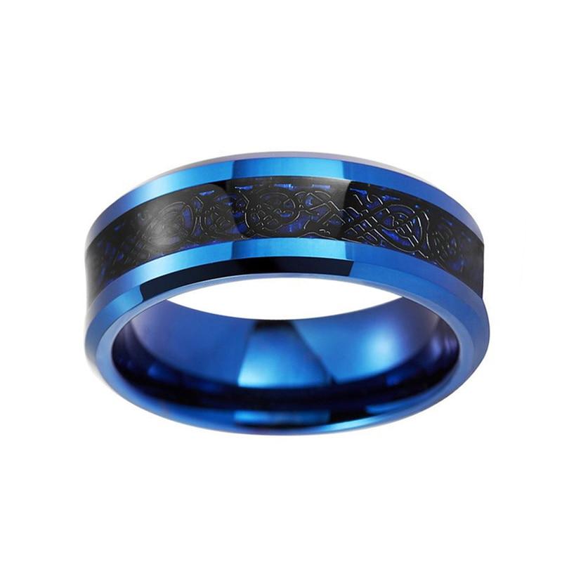 U05deu05d5u05e6u05e8 - Very Nice Blue Tungsten Carbide Ring With Black Dragon Inlay Nice Wedding Band For Male ...