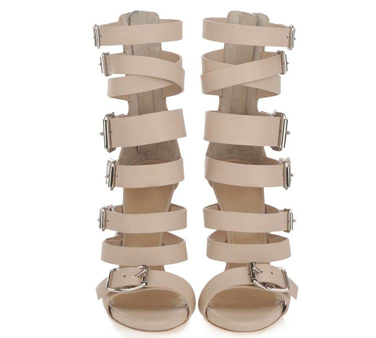 867098f9cbeab2 2014 Fashion Women s High Heel Gladiator Sandal Bootie Lace Up Nude + Black  Leather Buckle Ankle Strap Sandals Brand Shoe-in Women s Sandals from Shoes  on ...