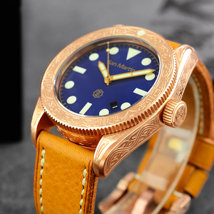 Image 1 - ผู้ชาย Vintage ดำน้ำนาฬิกา Vintage Bronze ดำน้ำแกะสลักนาฬิกาอัตโนมัติ 50ATM Multicolor หน้าปัด Retro Seagull Movement นาฬิกาข้อมือ