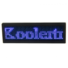USB Programmable Scrolling Blue LED Name Badge,Mini Display Message ID Name Tag for Business Advertising Message Display