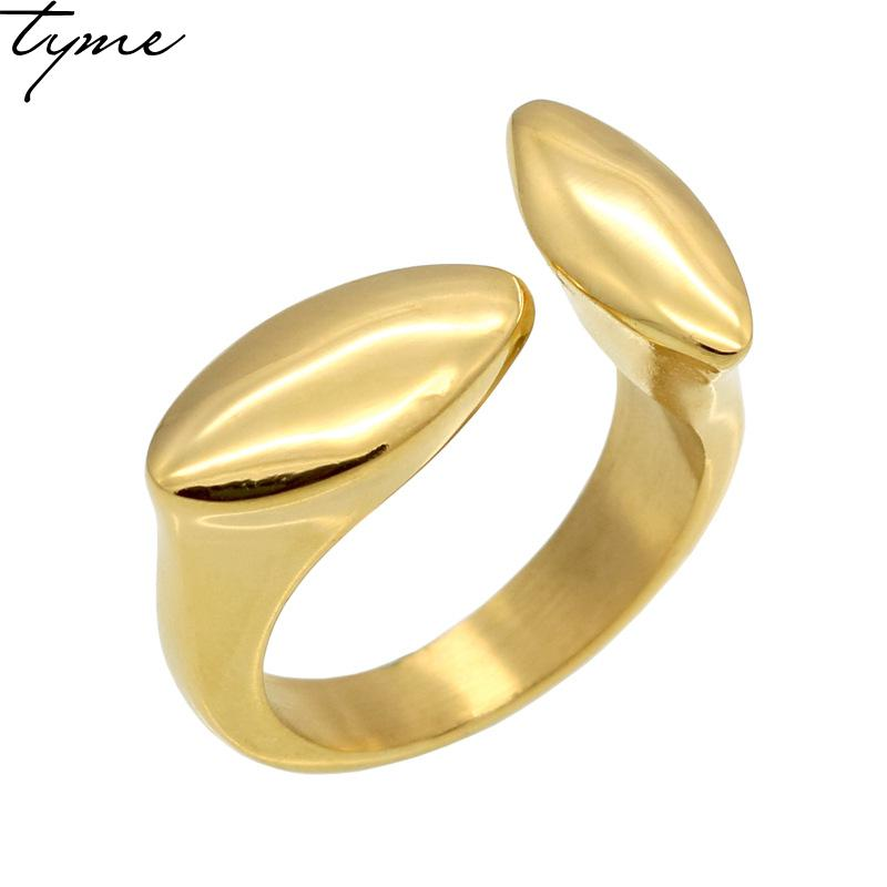 2017 New fashion Titanium steel Explosion Exquisite T rings Opening Geometric Ring men Simple Personality Gold-color Ring