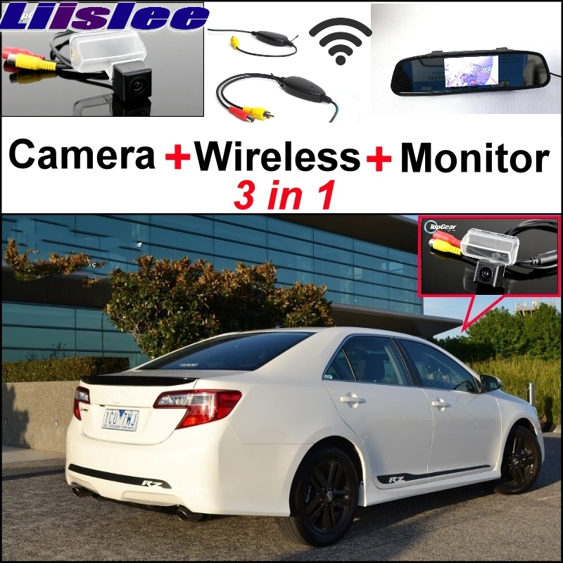 Liislee 3 in1 Special Rear View Camera + Wireless Receiver + Mirror Monitor Easy Back Up Parking System For TOYOTA Camry XV50 wireless receiver mirror monitor diy back up parking system for toyota sportsvan 3 in1 special rear view camera