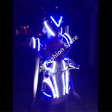 WX10 Singer cold fireworks clothes dance ballroom dresses led lighted dj sexy costume ballroom cosplay catwalk stage wears