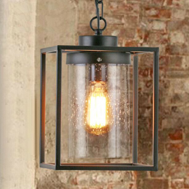 American Country Industrial Vintage Square Chandelier Loft Creative Restaurant Bar Iron Glass LED Lights Free Shipping