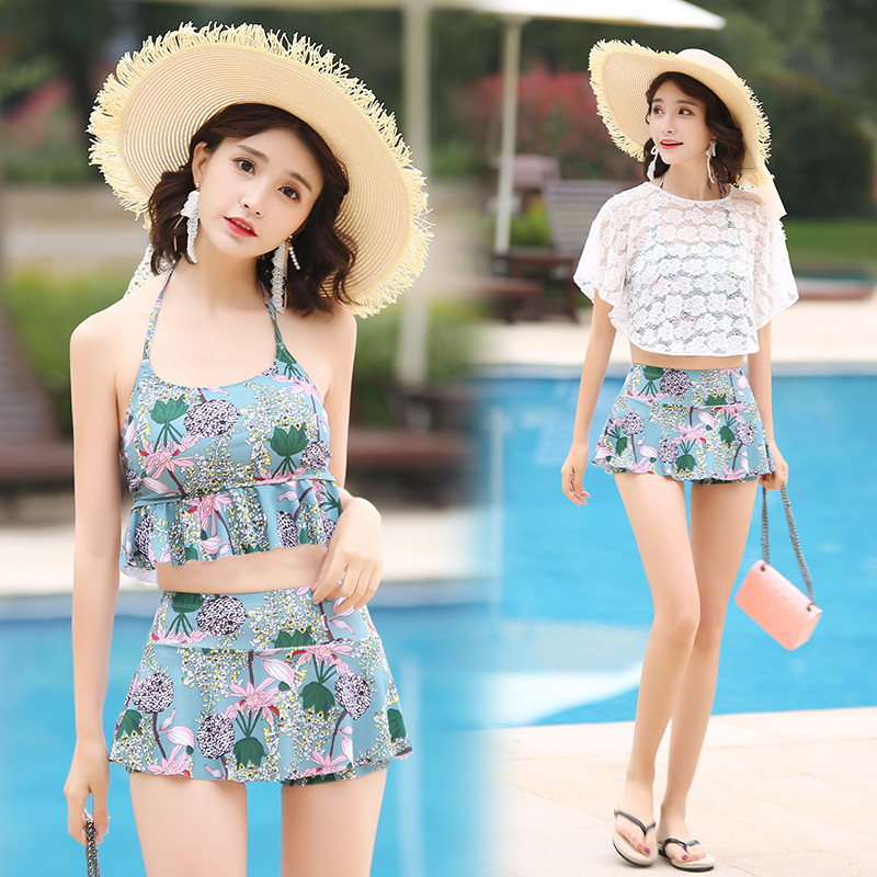 Swimwear With High Waist 2019 Plavky Two Piece Swimsuit For Women Bikinis Swimming Suit 2 Badpak Biquine Leaf Separated Skirt