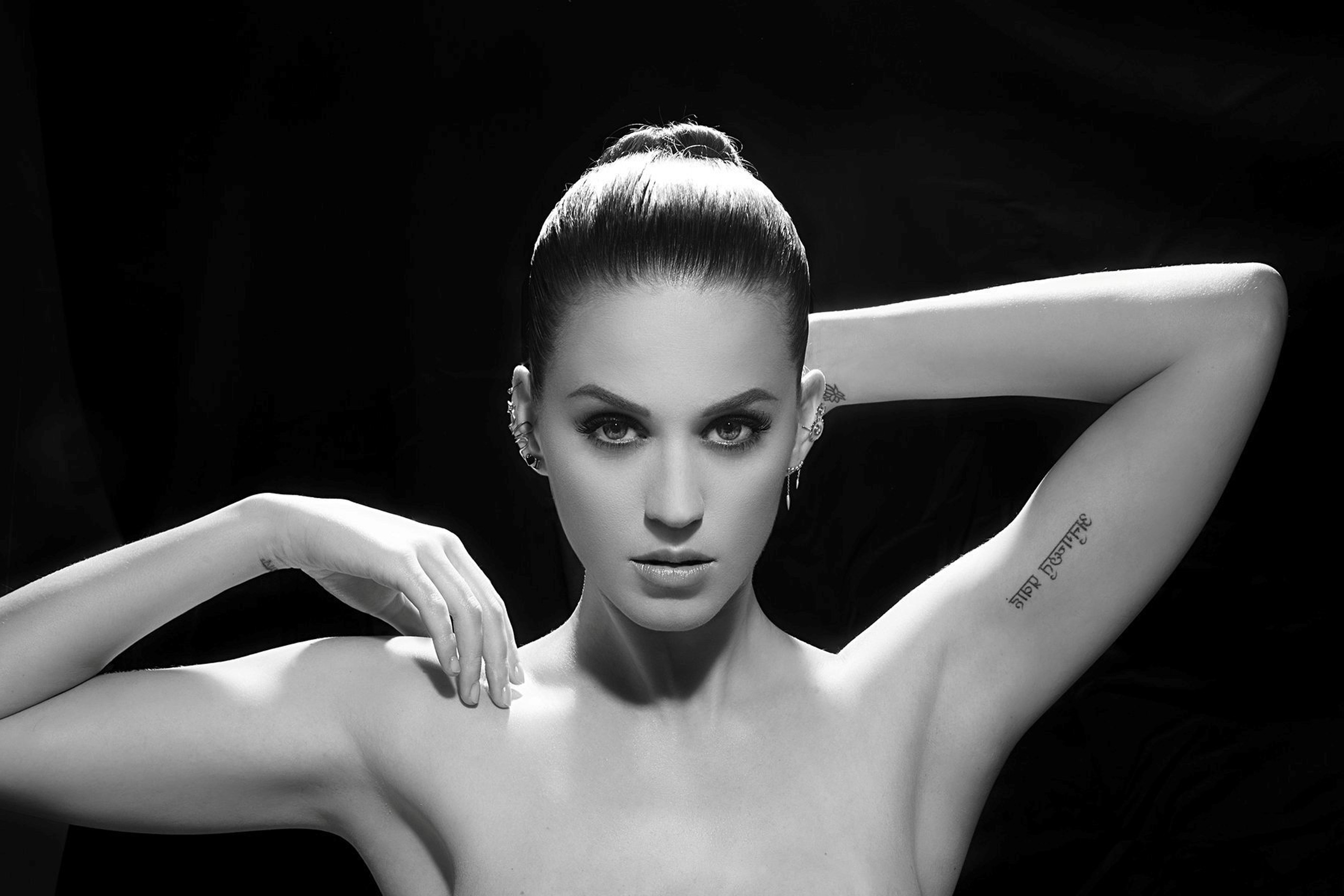 Katy Perry Black And White Portrait Tattoos Kc863 Living Room Home