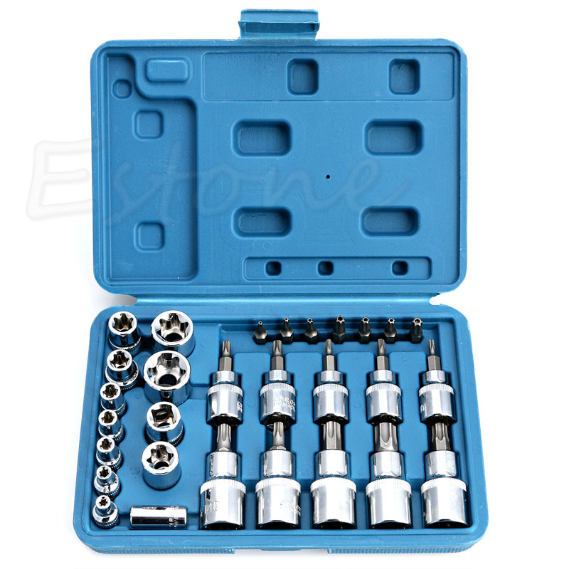 "Y142 New HOT 29PCS Torx Socket Bit Set 1/<font><b>4</b></font>"" <font><b>3</b></font>/8"" 1/2"" Chrome Vanadium Bright Chrome"