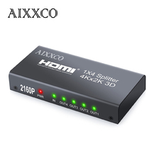 Aixxco 3d 2 k 4 k hdmi 2160 p hdmi splitter 1×4 hdmi Hub Repetidor Amplificador 1.4 3D 1080 p 1 en 4 hacia fuera convertidor