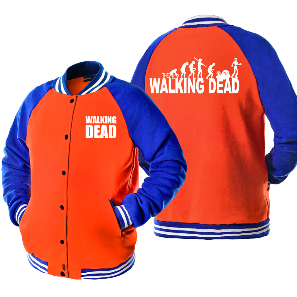 Teen Wolf STILINSKI 24/WALKING DEAD Rock And Roll Print Bomber Jacket Coat Tracksuits 2019 Spring Autumn Men's Jacket Harajuku