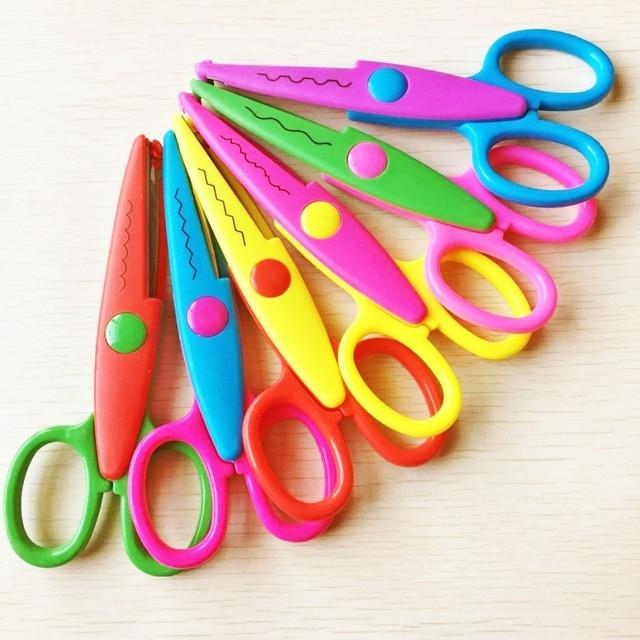 6pcs per set  DIY Craft Scissors Wave Edge Craft School Scissors for Paper Border Cutter Scrapbooking Handmade Kids Artwork Card