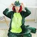 Dinossauro flanela Animal um pedaço de inverno de natal verde Halloween Costume Cosplay Pijamas adultos dinossauro Onesie homem mulheres