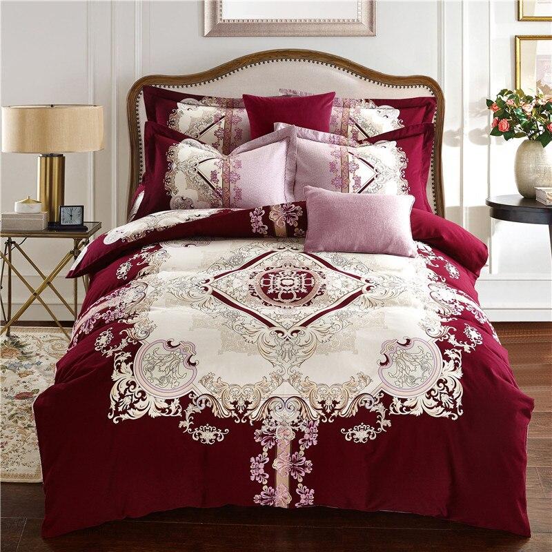 Papa&Mima Western style Pattern print red Bedding Set queen king Size Sanding Cotton Bedlinens purple Duvet Cover Set