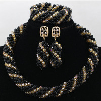Black Women Wedding Beads Necklace Nigerian Fashion Beads Crystal Braid African Costume Jewelry Sets 2017 Free Shipping ABK111