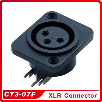 CT3-07F XLR Connector Female Chassis Panel Mounted Socket Adapter Soldering for Power MIC Connector Black