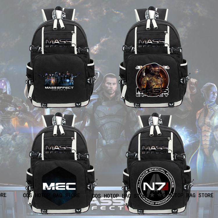 New Men Game Mass Effect N7 Backpack Knapsack Packsack Travel Student School Bags anime death note backpack knapsack packsack travel study school bags otaku shoulders bag package