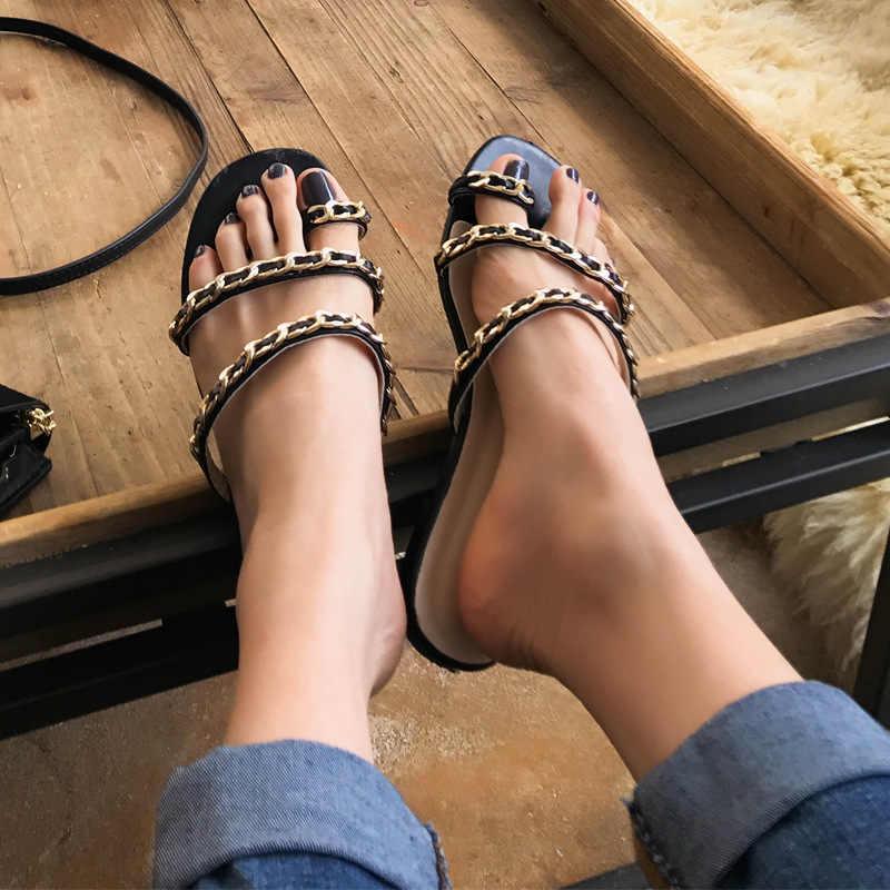 8e92058f65 Luxury brand clip toe narrow band flipflops women metal chains rope band  flat beach sandals ladies
