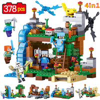 378pcs Latest MINE World 4in1 Product Portfolio Model Building Blocks Brick Model Compatible Legoed My Craft