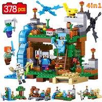 378pcs Latest MINE World 4in1 Product Portfolio Model Building Blocks Brick Model Compatible Legoed My Craft