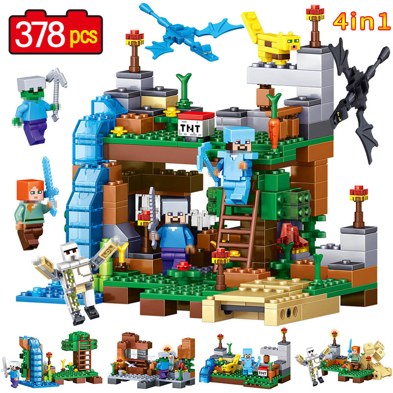 4 IN 1 My World Figures Building Blocks Compatible legoINGLY Minecrafted City Garden DIY Bricks Set Educational Children Toys 523pcs 4 in 1 minecrafted classic tree house my world model figures building blocks bricks legoings toys for children gifts set