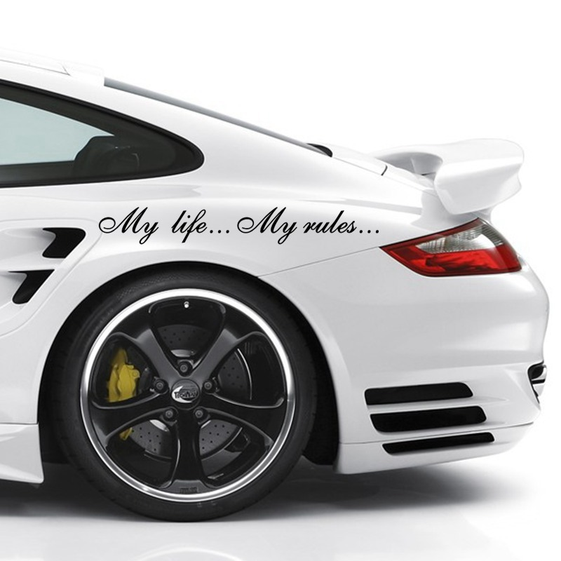 Three Ratels TZ-640 8.5*60cm 1-2 Pieces My Life...My Rules... Car Stickers And Decals Auto Sticker