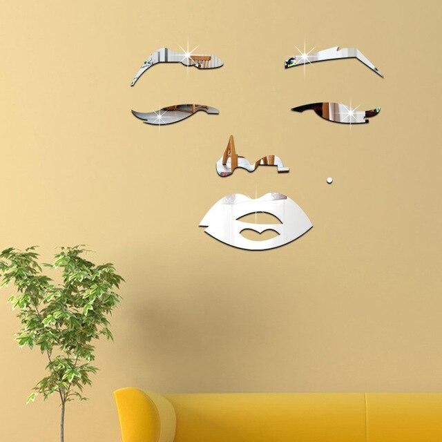 3D Marilyn Monroe People Mirror Wall Stickers Bedroom Decor Wall ...