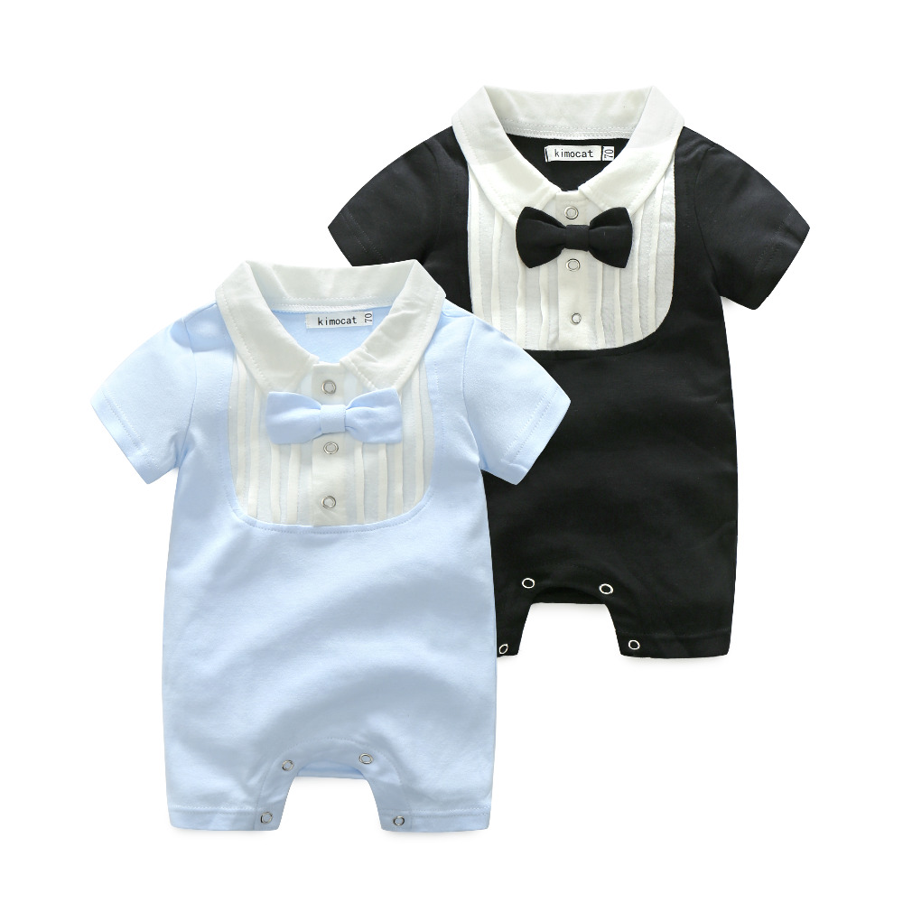 Boy Clothes Gentleman Cotton Clothing Newborn Clothes Baby Boy Rompers Short Sleeve False Two Pieces Jumpsuit Boy Overalls 3-24M baby set baby boy clothes 2 pieces