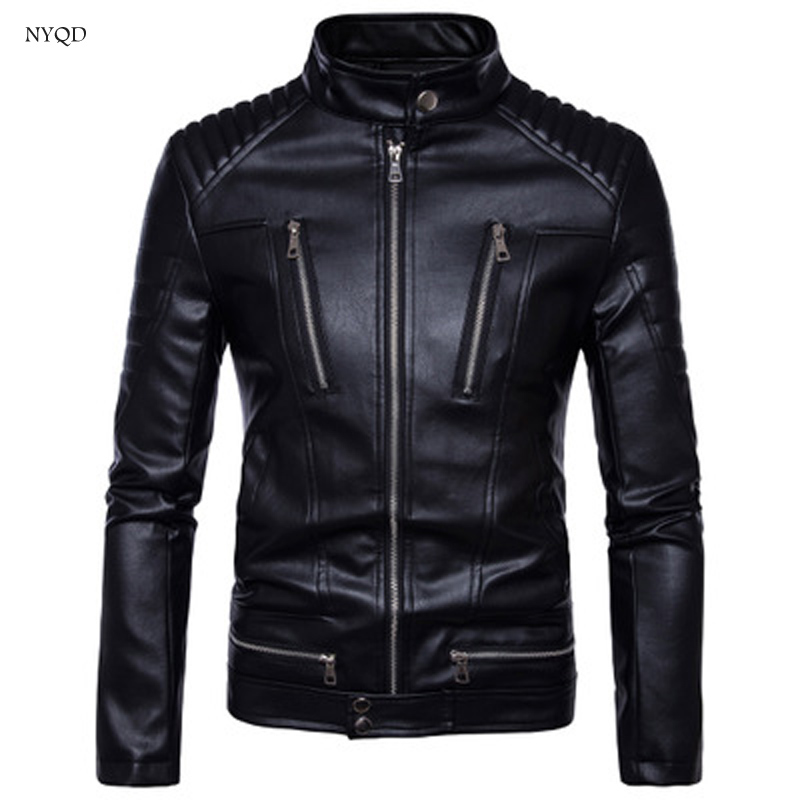 High quality leather for motorcycle jacket Menswear locomotive multi-zipper leather suit jacket Winter outdoor warmth Waterproof